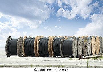 groß, schwarz, kabel, brötchen