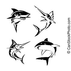 Große Fischset-Sammlung