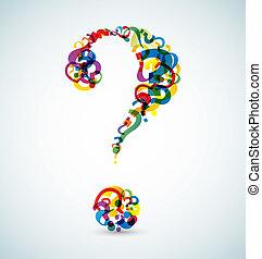 Große Fragezeichen aus kleineren Fragezeichen.