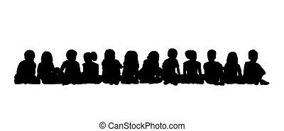 Große Gruppe von Kindern mit Sitz Silhouette 3.