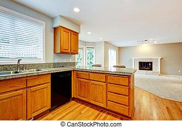 Große leere, offene Küche mit Wohnzimmerinneren.