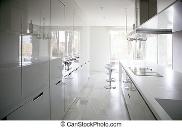 Große moderne weiße Küche.
