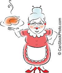großmutter, gekocht, mein, abendessen.