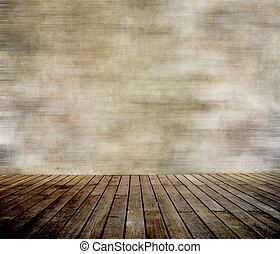 Grungemauer und Holzboden