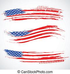 grungy, amerikanische , banner, fahne