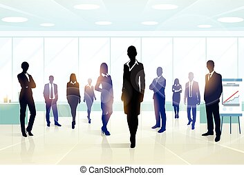 gruppe, geschäftsmenschen, mannschaft, silhouette, geschäftsführung