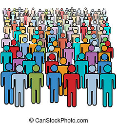 gruppe, menschenmasse, groß, farben, sozial, viele