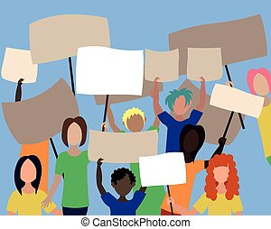 gruppe, protestieren, leute, requirements., posters., position
