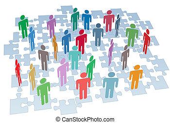 gruppe, vernetzung, puzzlesteine, anschluss, human resources