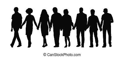 Gruppe von Leuten, die Händchen Silhouette 1 halten.