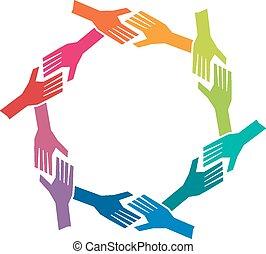 Gruppen oh Menschen Hände im Kreis. Teamwork