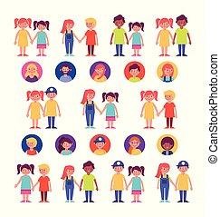 Gruppen von Familienmitgliedern.