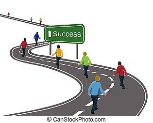 Gruppen von Männern, die auf einer gebogenen Asphaltstraße zum grünen Zeichen Erfolg mit weißem Pfeil Konzept des Erfolgs zu erreichen Ziele, Team-Kooperation, Sieg oder Reise.