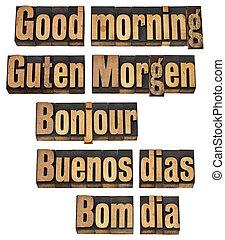 Guten Morgen in fünf Sprachen