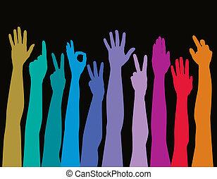 Hände aller Rassen