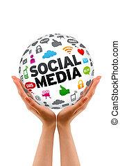 Hände, die einen sozialen Medienbereich halten