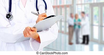 Hände eines Arztes.
