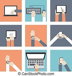 Hände mit digitalen Geräten.