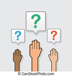 Hände stellten Fragen