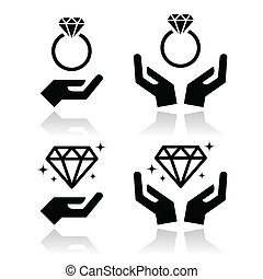 hände, verlobung , diamantring