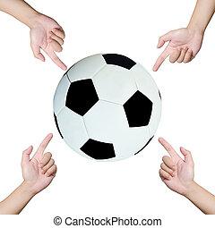 Hände zeigen Fußball