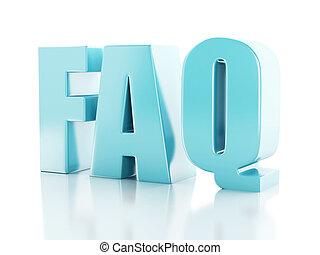 Häufig gestellte Fragen. FAQ Konzept. 3D Illustration