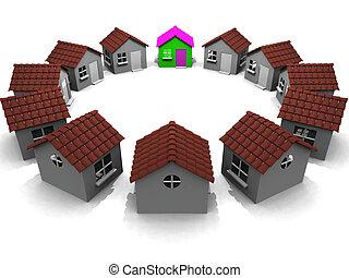 Häuser im Kreis