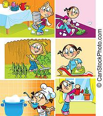 Häusliche Beschäftigung von Kindern