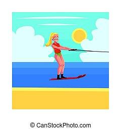 Hübsche Frau, Mädchen-Wasser-Ski, genießen Sommer-Wasseraktivitäten