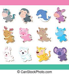 Hübsches Cartoon-Tier-Ikonenset
