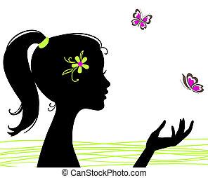 Hübsches Mädchen mit Schmetterling