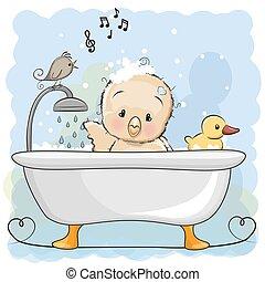 Hühnchen im Bad.
