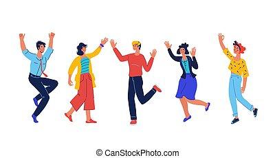 haben, gruppe, zusammen., freude, verschieden, springende , glücklich, spaß, leute