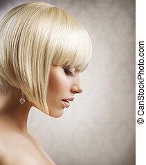 haircut., frisur, m�dchen, hair., gesunde, blond, kurz, schöne