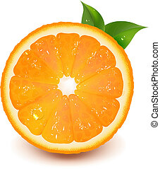 Halb orange mit Blatt und Wassertropfen