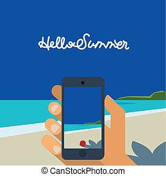 Hallo Summer, Hand halten Smartphone Bild von Strand