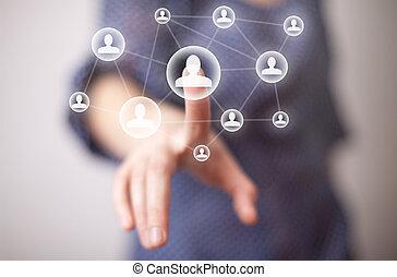 Hand drückende soziale Medien-Ikone