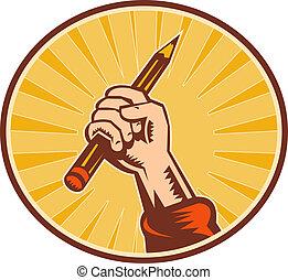 Hand hält Bleistift mit Sonnenbrand in einem Oval