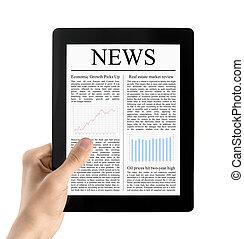 Hand hält Tablet PC mit isolierten Nachrichten