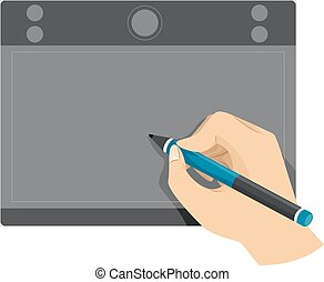 Hand mit Stifttablett.