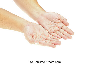 Hand, offene Hände mit einem Objekt. Iss dein Produkt. Isoliertes Bild