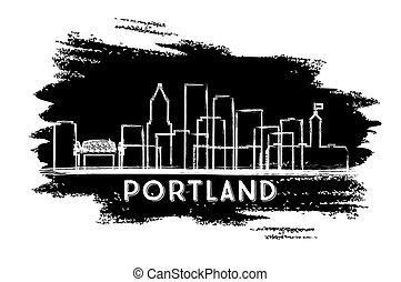 hand, portland, stadt, oregon, skyline, silhouette., gezeichnet, sketch.
