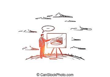 hand, trainieren, vector., concept., gezeichnet, freigestellt