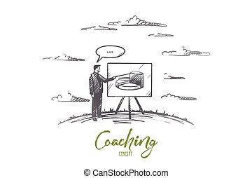 hand, vector., concept., gezeichnet, freigestellt, trainieren