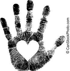 Handabdruck mit Herz