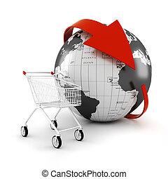 handel, begriff, online kaufen, karren, 3d