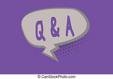Handschriftentext Q und A. Konzept bedeutet Austausch von Fragen und Antworten zwischen Gruppen der Show