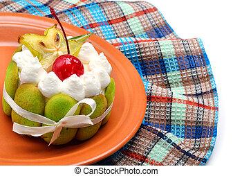 handtuch, waffel, schmackhaft, früchte, torte, creme
