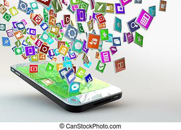 Handy mit Wolke der Anwendung Icons.