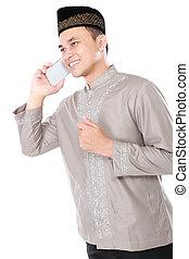 handy, moslem, mann, berufung